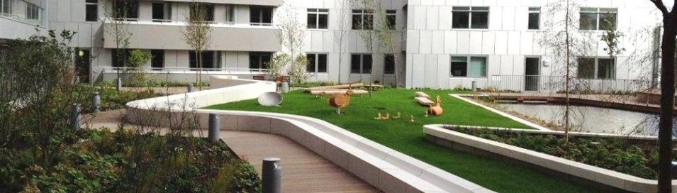 Landscaped extensive green roof with ABG blueroof attenuation system installed