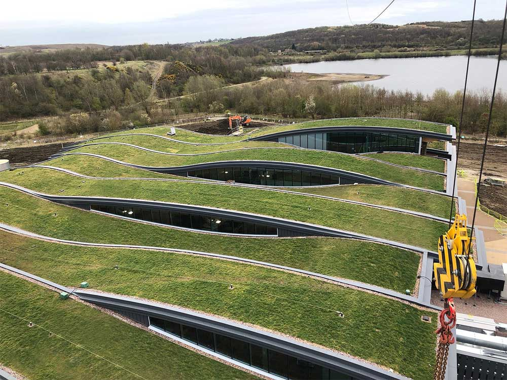 Stunning green roof on Leeds Skelton Lake Services in the UK