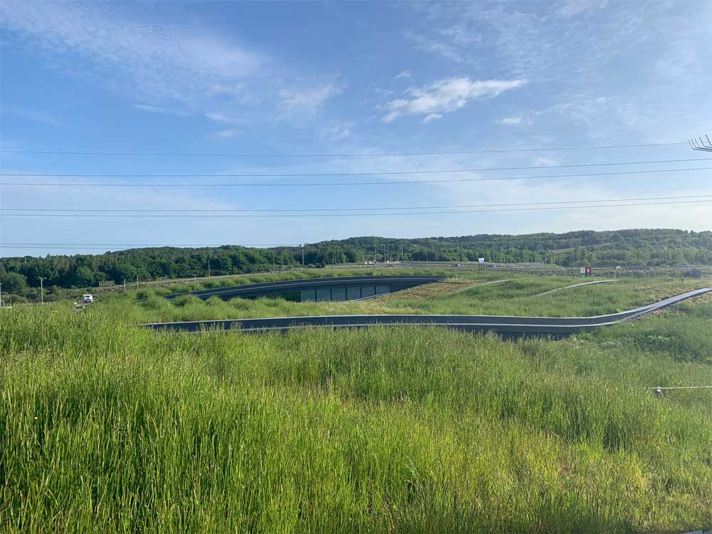 The Skelton Lake Services green roof blends in with the green environment