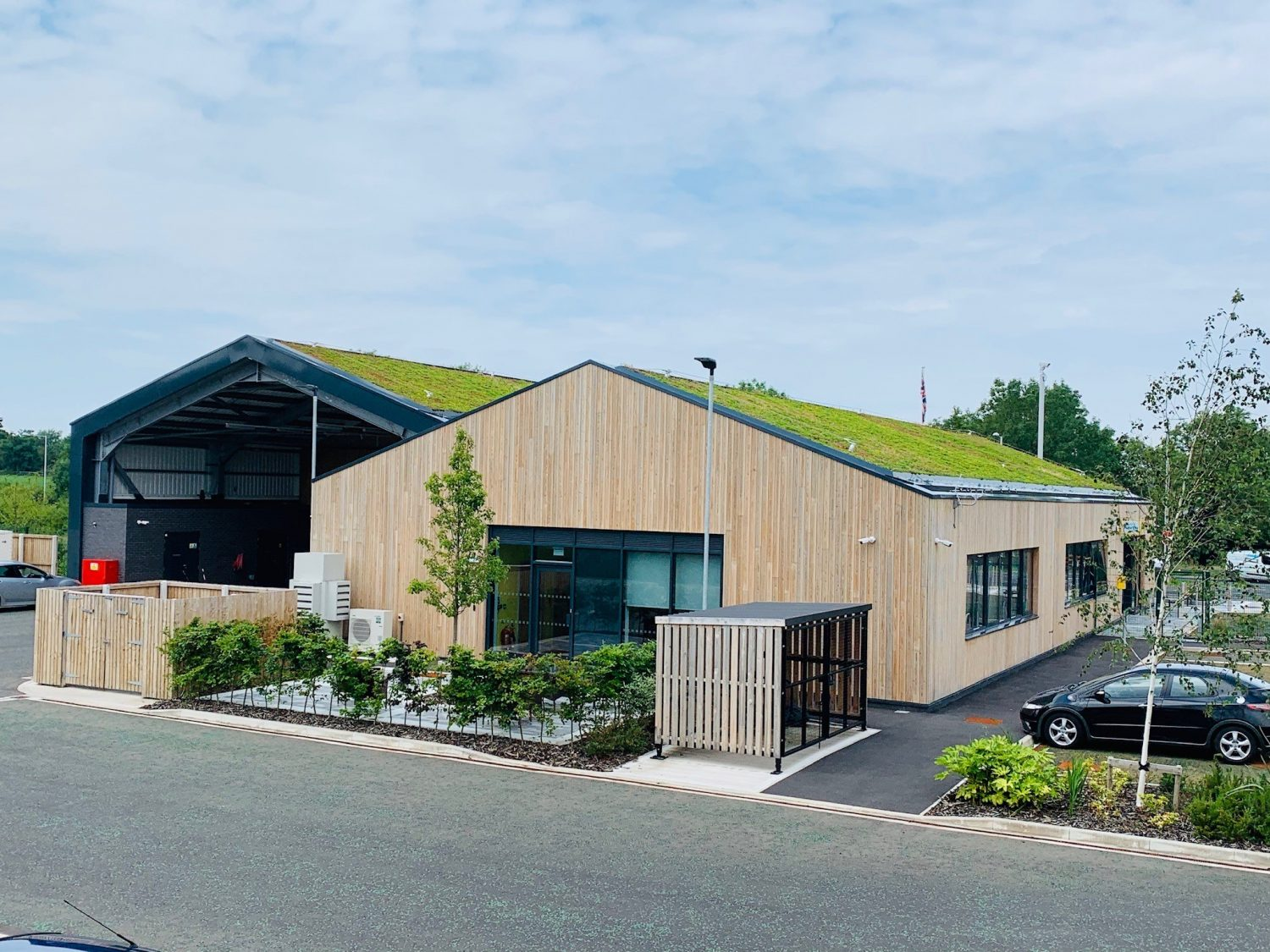 Green Roof, Sedum Pitched Roof, Saughall Massie Fire Station, Wirral, UK